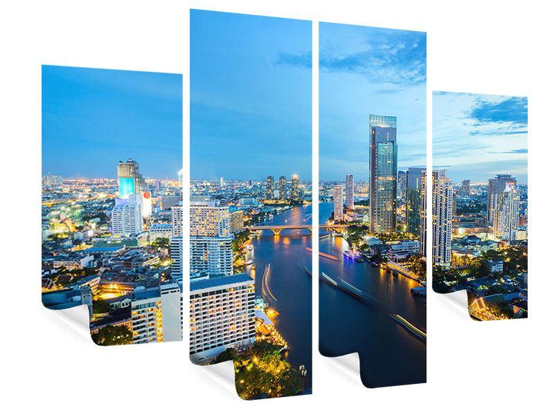 Poster 4-teilig Skyline Bangkok in der Abenddämmerung
