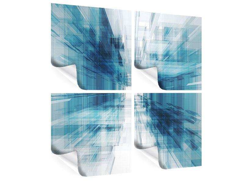 Poster 4-teilig Abstrakte Raumerweiterung