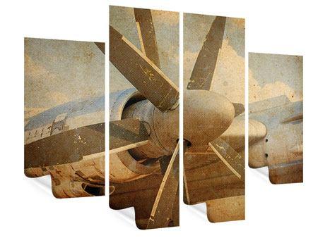 Poster 4-teilig Propellerflugzeug im Grungestil