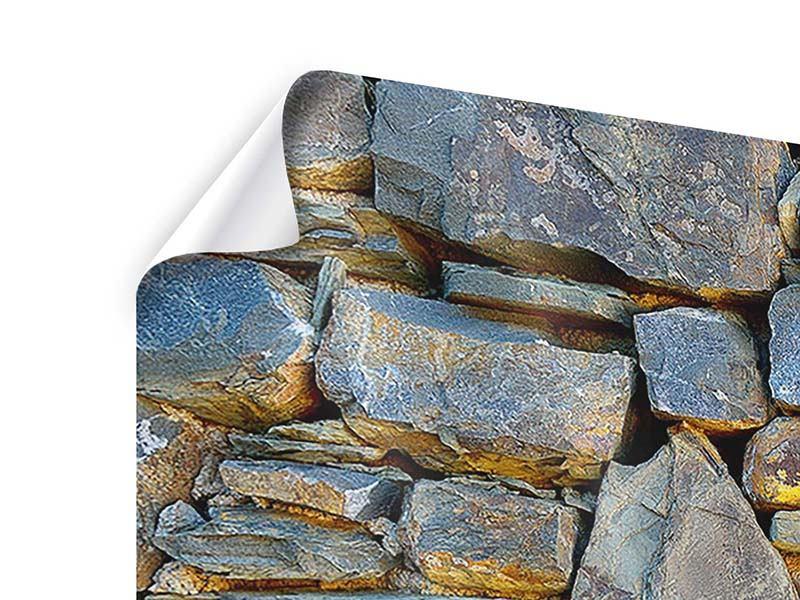 Poster 4-teilig Natürliche Steinmauer