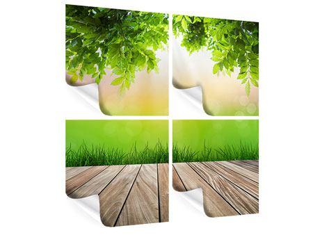 Poster 4-teilig Gartenterrasse