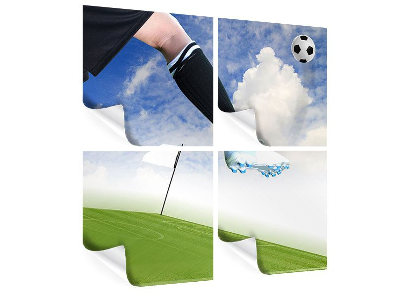 Poster 4-teilig Fussball-Kicker