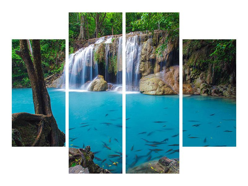 Poster 4-teilig Naturerlebnis Wasserfall