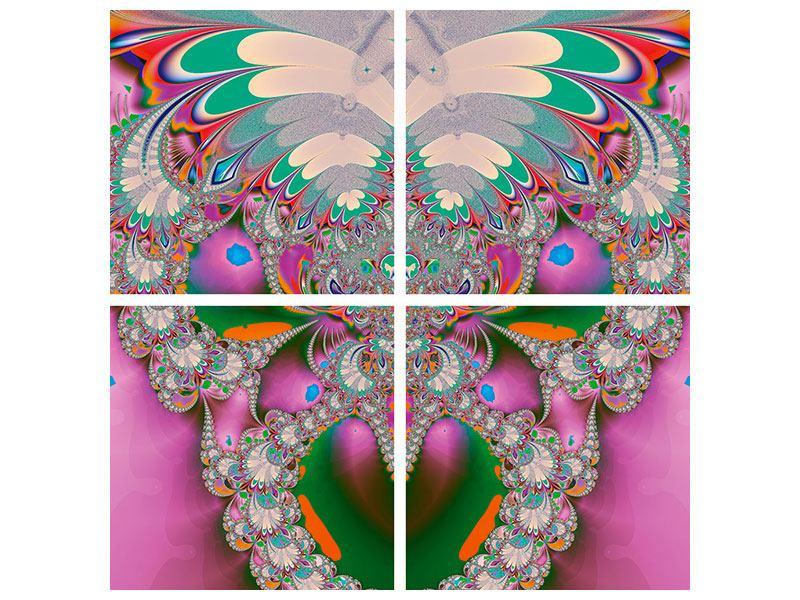 Poster 4-teilig Fraktal Design