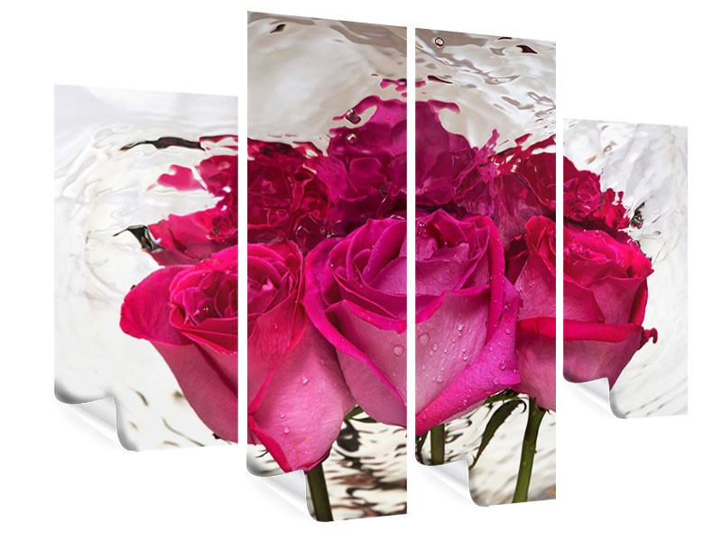 Poster 4-teilig Die Rosenspiegelung