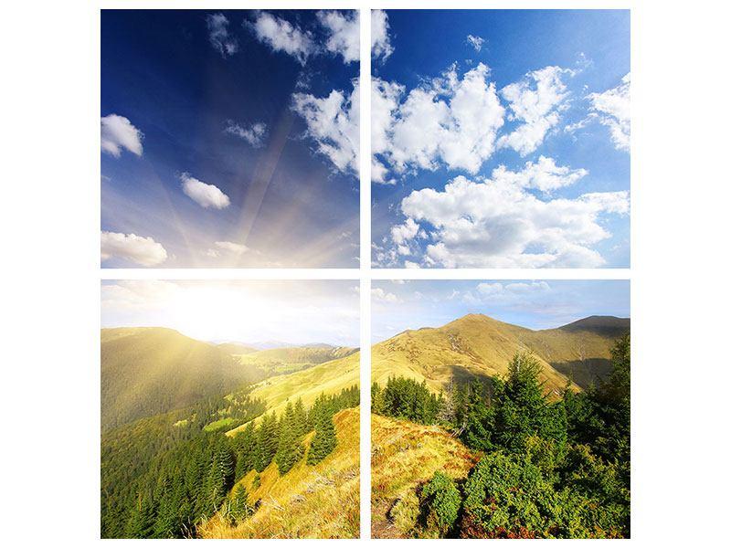 Poster 4-teilig Sonnenaufgang im Gebirge