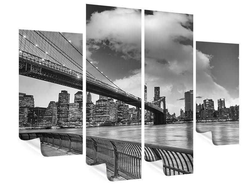 Poster 4-teilig Skyline Schwarzweissfotografie Brooklyn Bridge NY