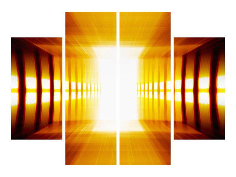 Poster 4-teilig Abstrakter Goldener Raum