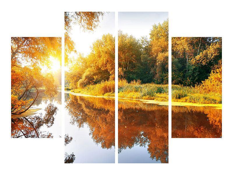 Poster 4-teilig Waldspiegelung im Wasser