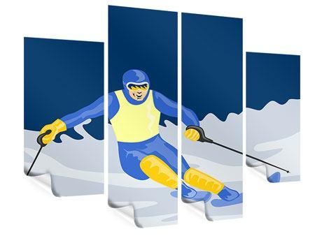Poster 4-teilig Skifahrer im Retrostyle