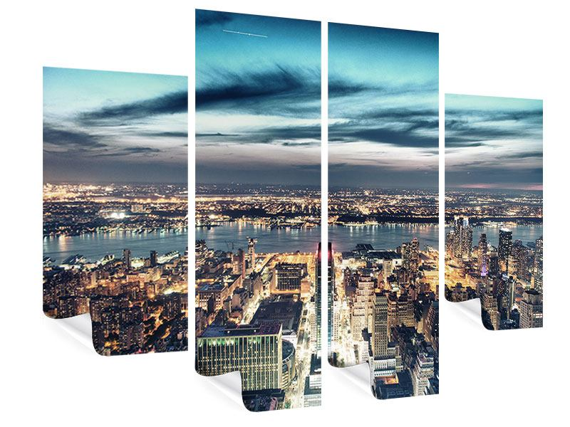 Poster 4-teilig Skyline Manhattan Citylights