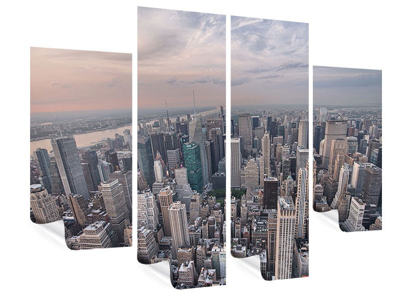 Poster 4-teilig Skyline Blick über Manhattan