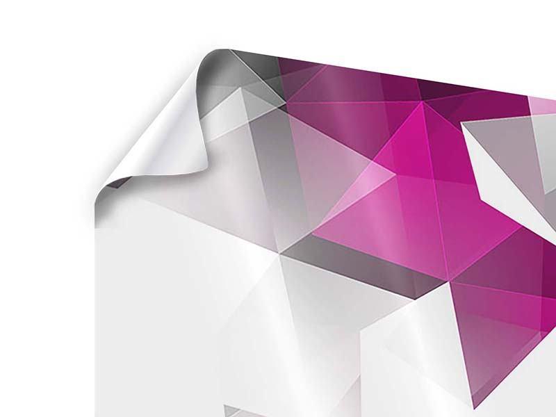 Poster 4-teilig 3D-Kristalle Pink