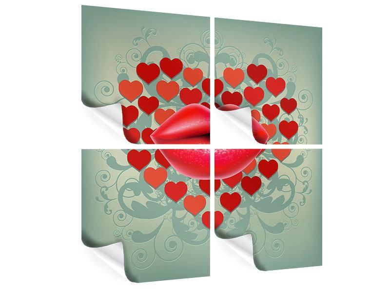 Poster 4-teilig Rote Lippen soll man küssen