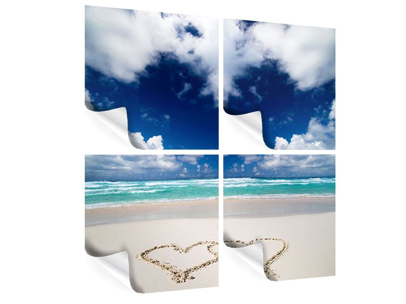 Poster 4-teilig Strandliebe