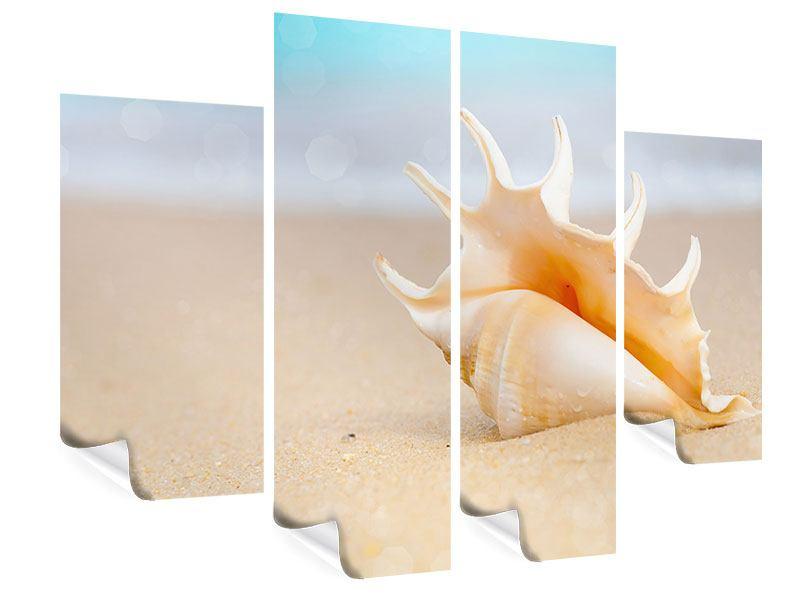Poster 4-teilig Die Muschel am Strand