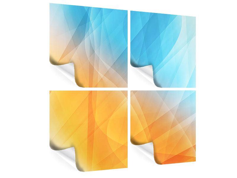 Poster 4-teilig Abstrakte Fliessende Farben