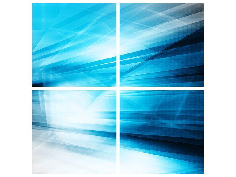 Poster 4-teilig Abstrakte Lasershow