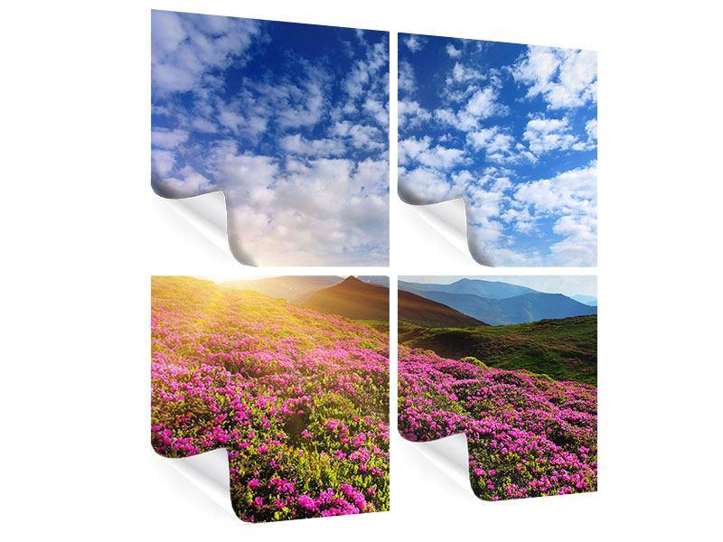 Poster 4-teilig Blumige Berglandschaft