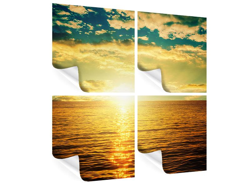 Poster 4-teilig Sonnenuntergang am Meereshorizont