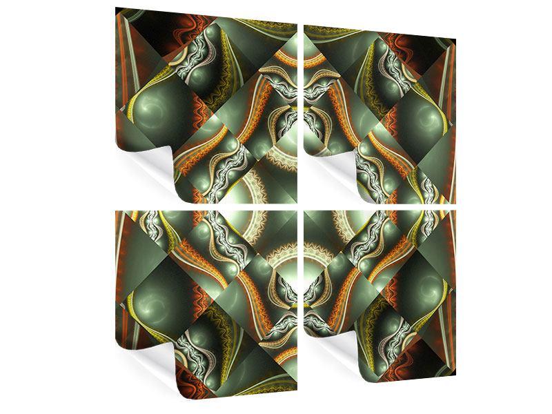 Poster 4-teilig Fraktales Bild