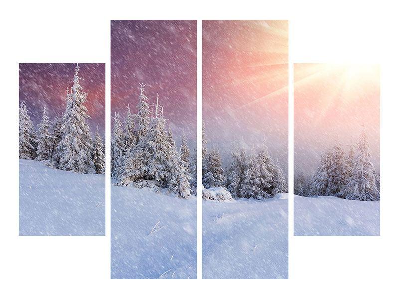 Poster 4-teilig Mystischer Schneesturm