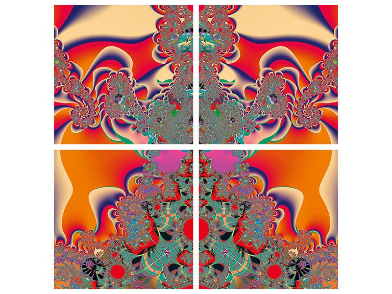 Poster 4-teilig Psychedelische Kunst