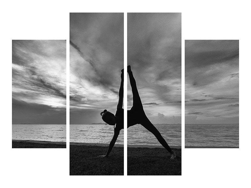 Poster 4-teilig Yoga am Strand