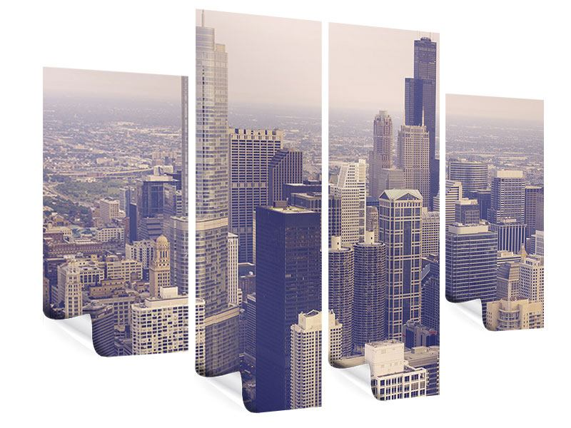 Poster 4-teilig Skyline Chicago in Sepia