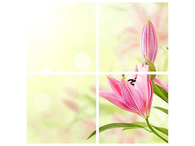 Poster 4-teilig Lilien-Perspektive
