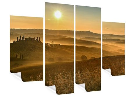 Poster 4-teilig Sonnenuntergang im Gebirge