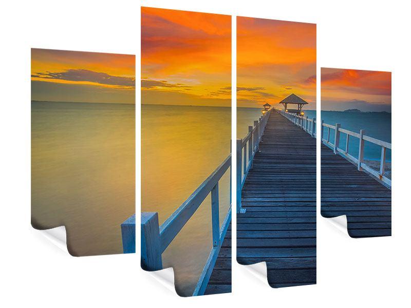 Poster 4-teilig Eine Holzbrücke im fernen Osten