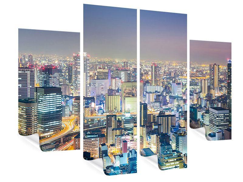 Poster 4-teilig Skyline Osaka bei Sonnenuntergang