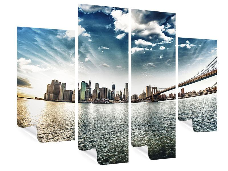 Poster 4-teilig Brooklyn Bridge From The Other Side