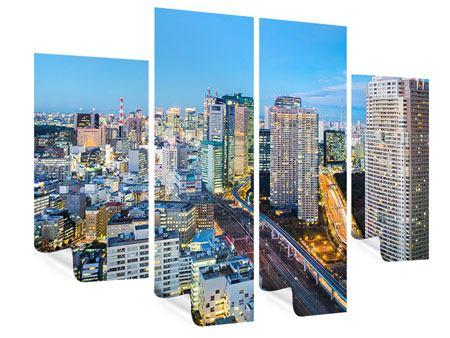 Poster 4-teilig Skyline Tokio im Lichtermeer
