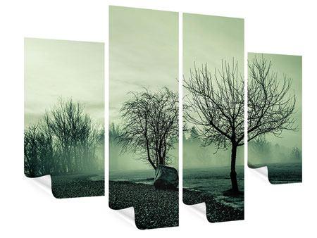 Poster 4-teilig Der Auwald im Nebel
