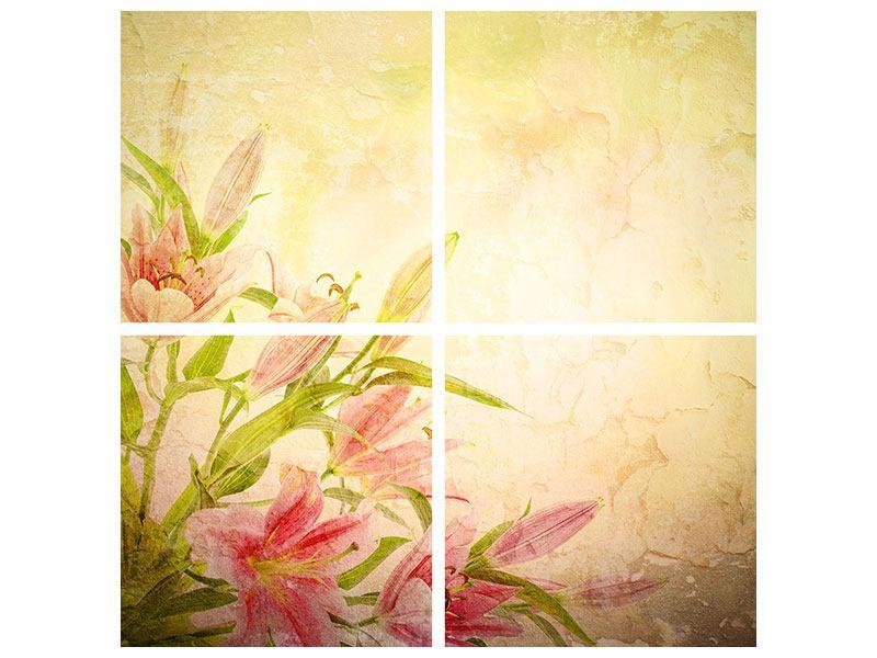Poster 4-teilig Lilien-Gemälde
