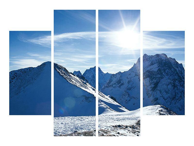 Poster 4-teilig Der Berg im Schnee