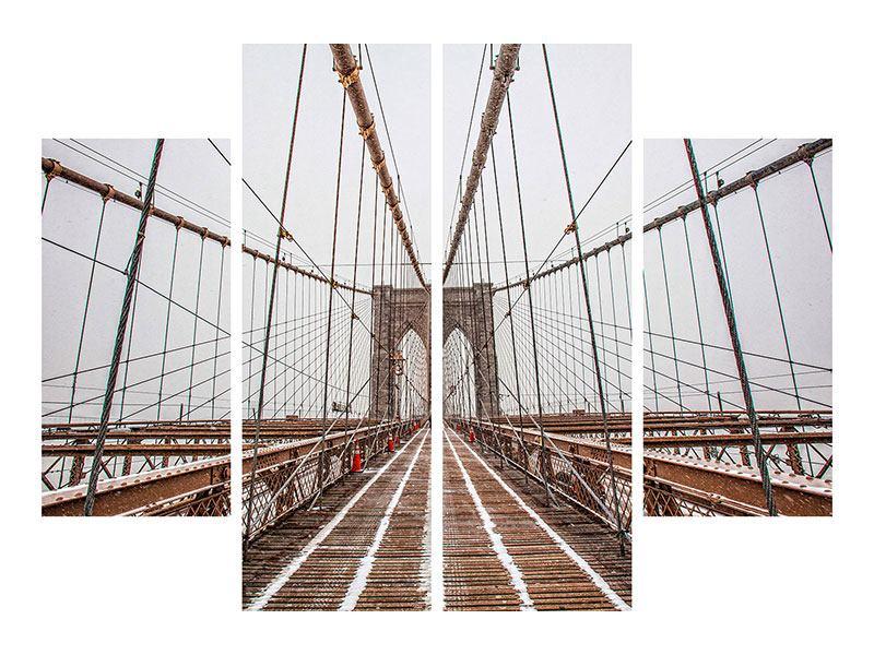 Poster 4-teilig Auf der Brooklyn Bridge