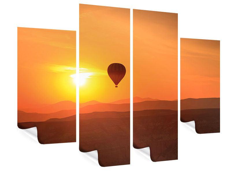 Poster 4-teilig Heissluftballon bei Sonnenuntergang