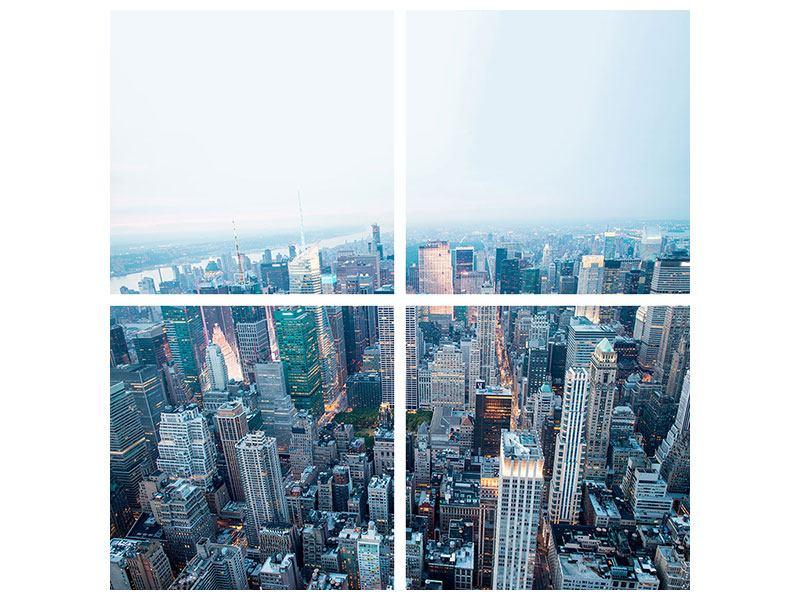 Poster 4-teilig Skyline Manhattan in der Abenddämmerung