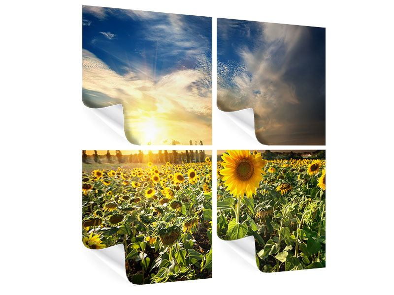 Poster 4-teilig Sunny Flowers