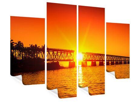 Poster 4-teilig Sonnenuntergang an der Brücke