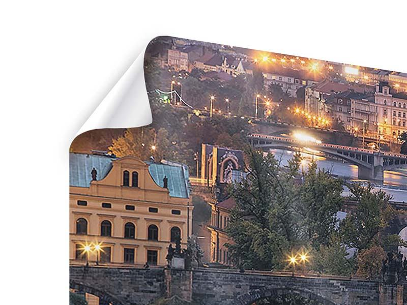 Poster 4-teilig Brücken in Prag