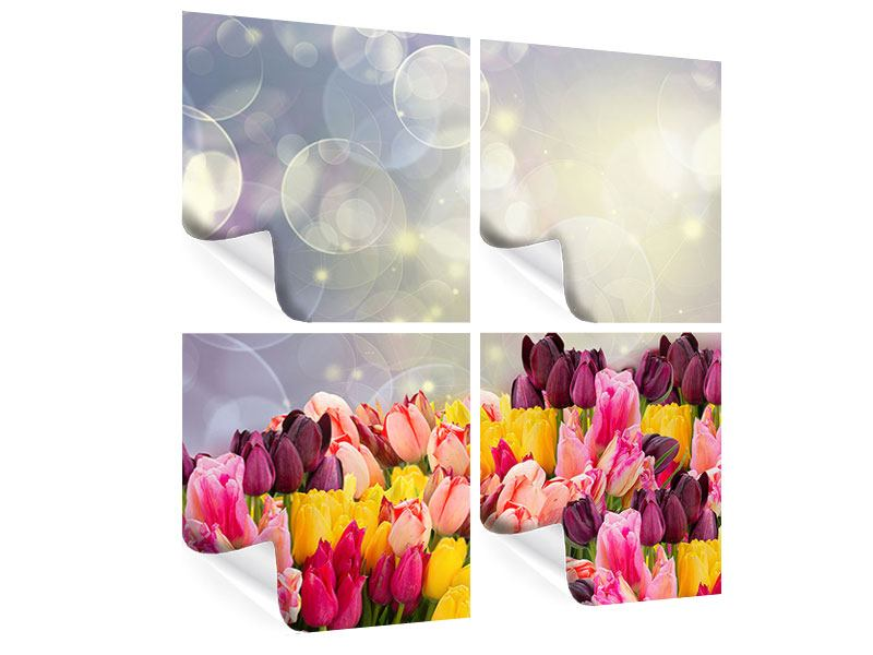 Poster 4-teilig Buntes Tulpenbeet im Lichtspiel