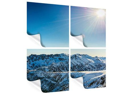 Poster 4-teilig Berge im Schnee