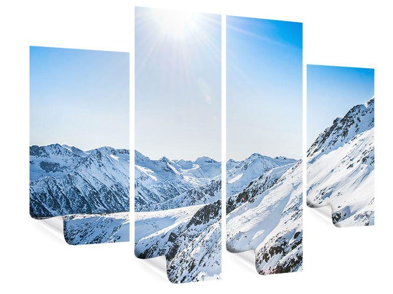Poster 4-teilig Bergpanorama im Schnee