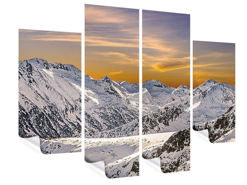 Poster 4-teilig Sonnenuntergang in den Bergen