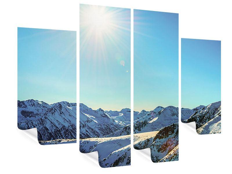 Poster 4-teilig Sonnige Berggipfel im Schnee