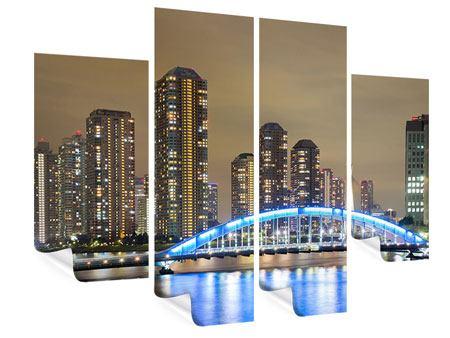 Poster 4-teilig Skyline Tokio in der Nacht